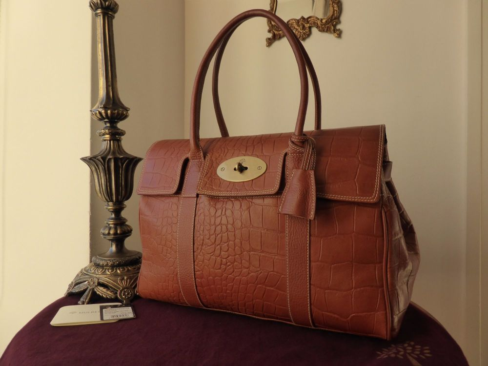 Mulberry Bayswater Classic in Oak Vegetable Tanned Printed Leather