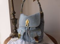 Mulberry Tillie Drawstring Shoulder Bag in Pale Blue Washed Denim