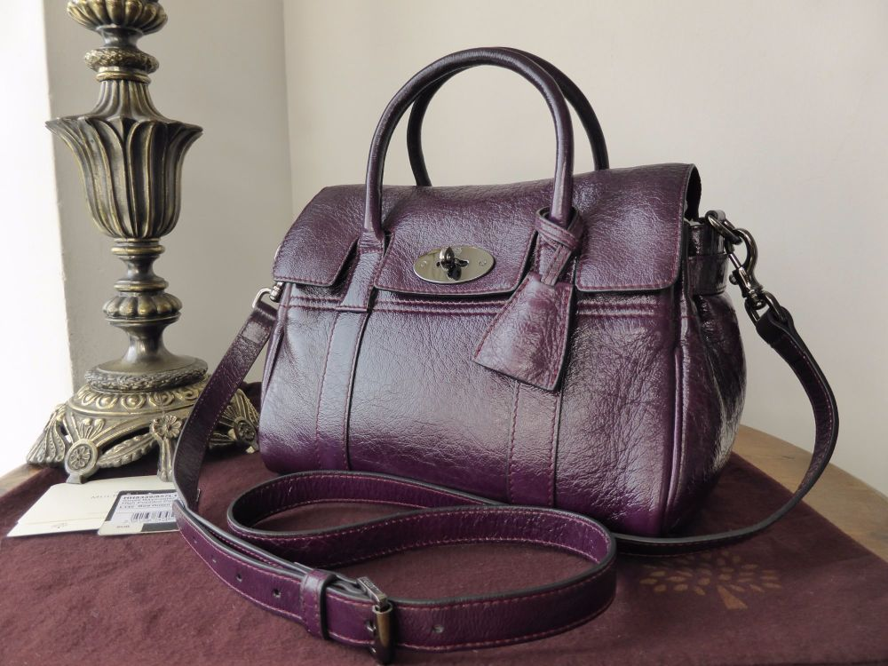 Mulberry Classic Small Bayswater Satchel in Red Onion High Pebbled Patent L