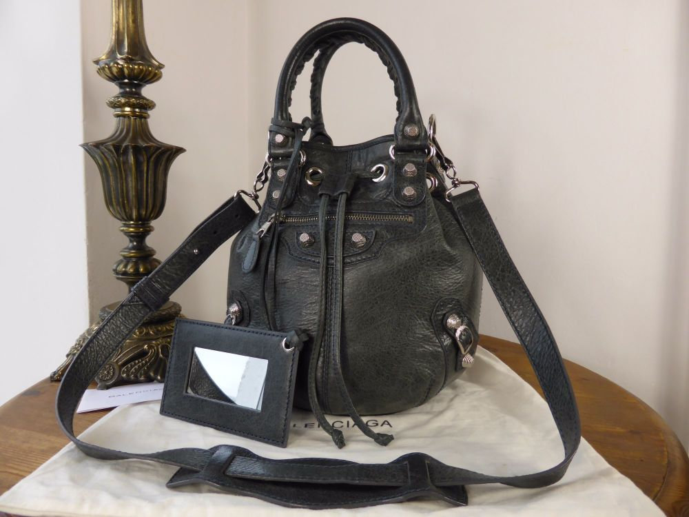 Balenciaga Mini PomPon in Anthracite Lambskin with Giant 12 Silver Hardware