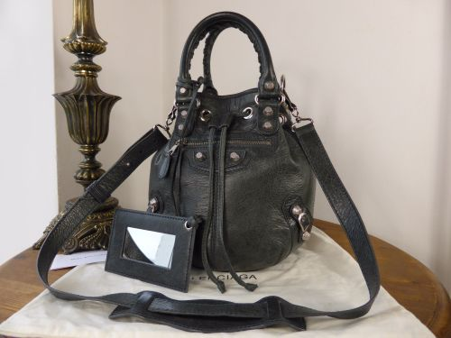 Balenciaga Mini PomPon in Anthracite Lambskin with Giant 12 Silver Hardware d4925cae97bd6