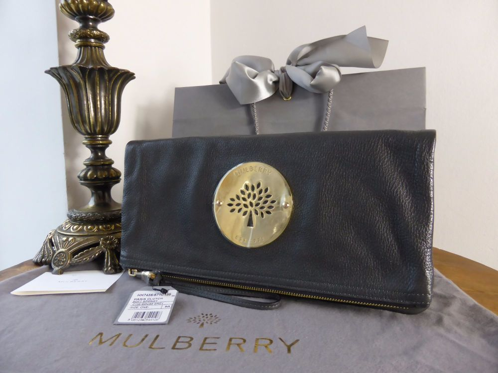 Mulberry Daria Clutch in Mouse Grey Soft Spongy Leather - New