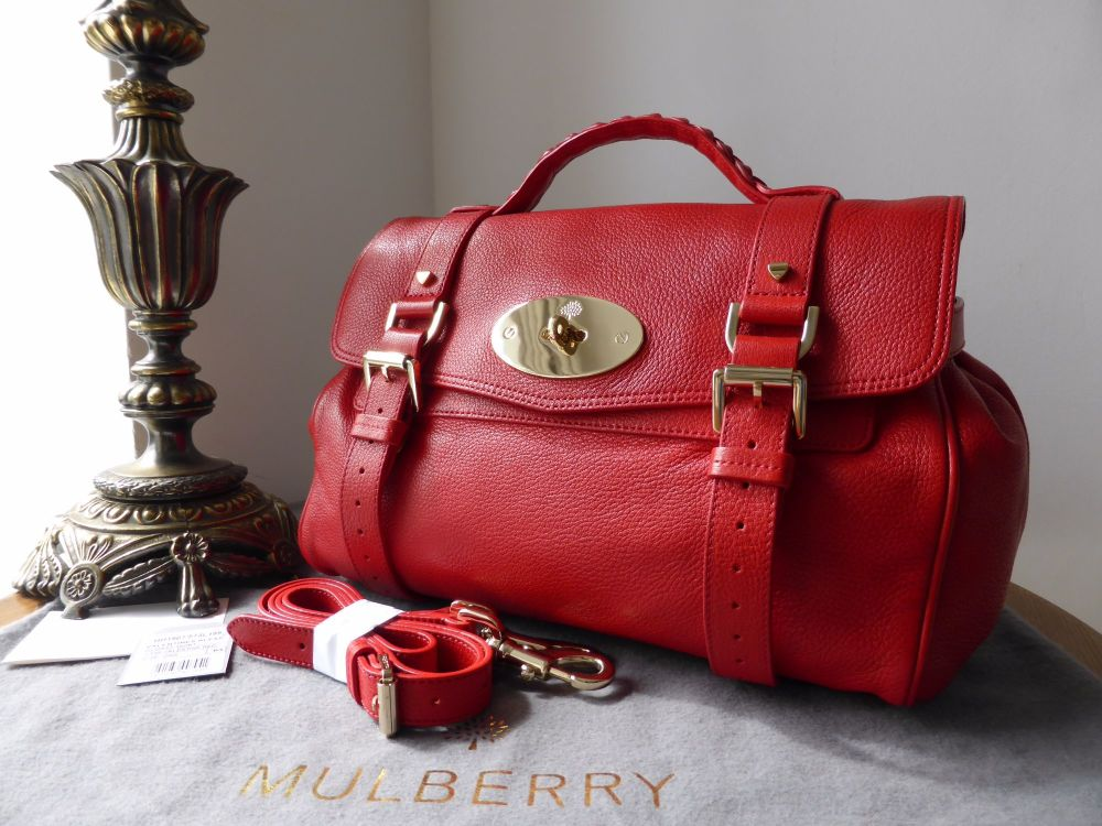 Mulberry Valentine Alexa in Red Glossy Goat Leather with Gold Heart Studs