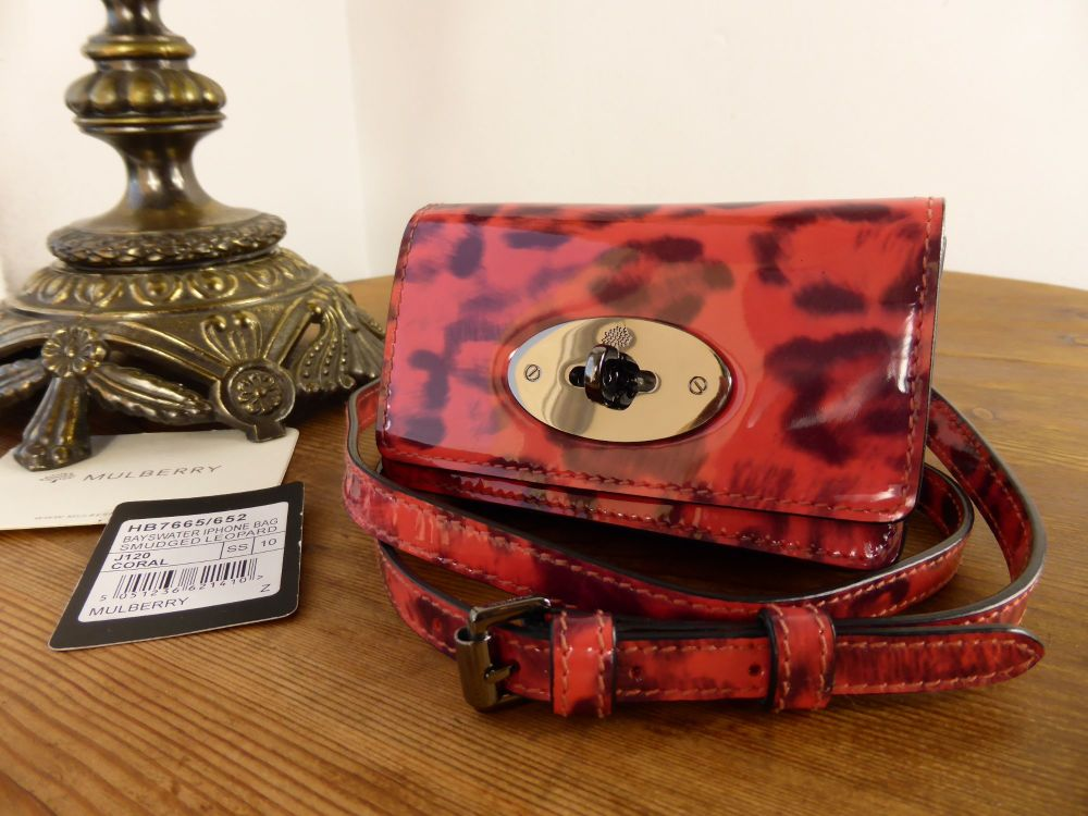 Mulberry Bayswater Mini Messenger in Coral Smudged Patent Leopard