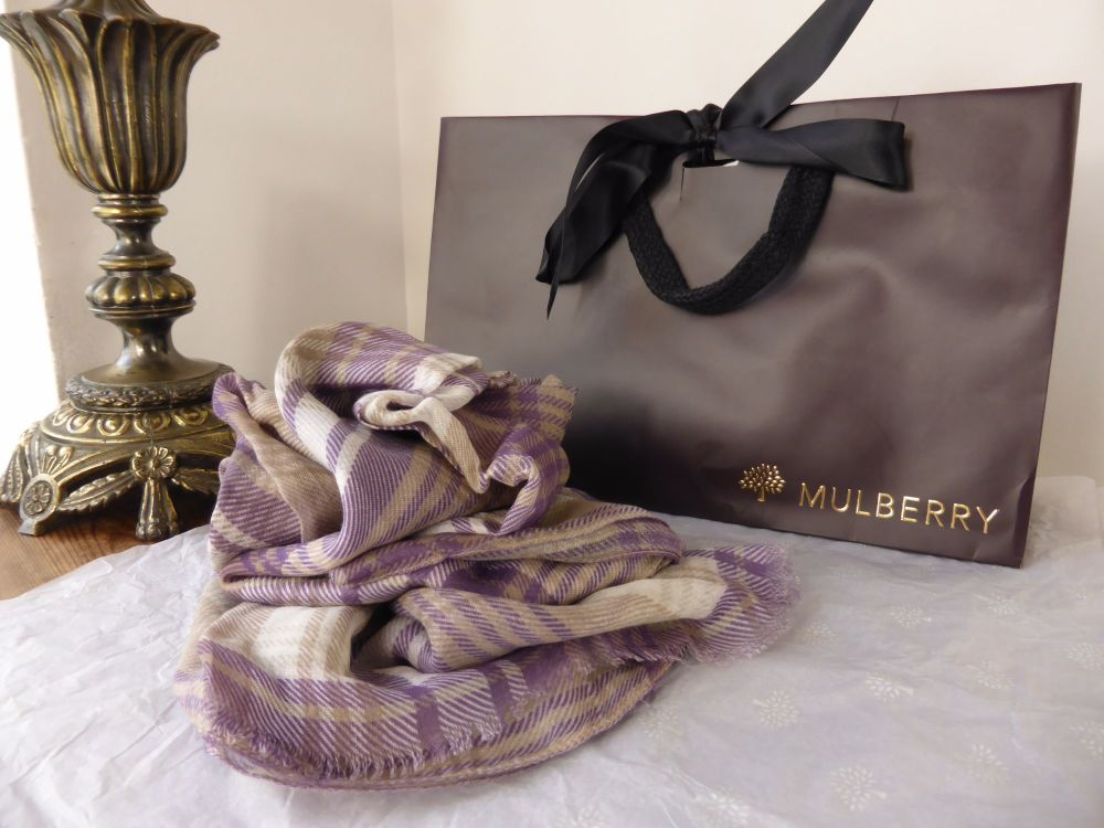 Mulberry Lightweight Wrap in Grape Soda Check - New*