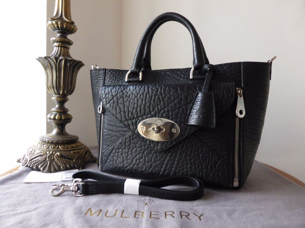Mulberry Small Willow Tote in Black Shrunken Calf Leather with Nickel Hardw