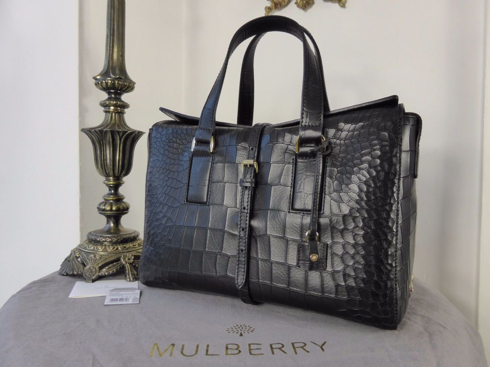 Mulberry Roxette (Larger Sized) in Black Deep Embossed Croc Print - New