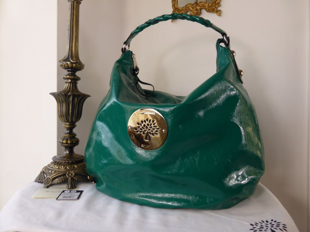 Mulberry Daria Large Hobo in Emerald Wrinkled Patent
