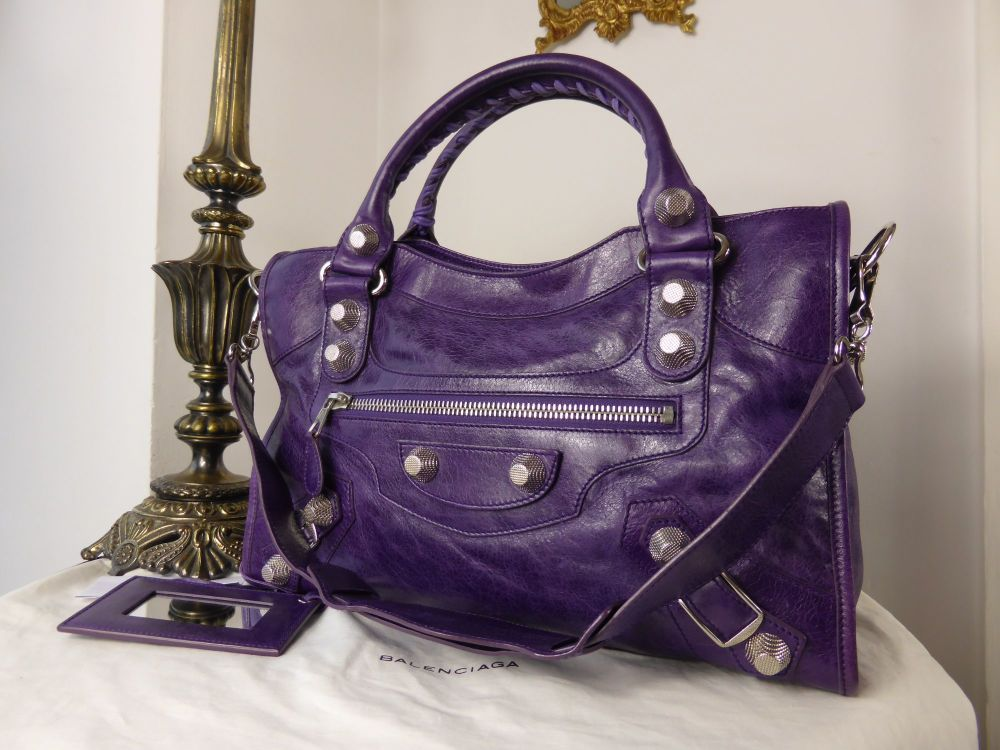 Balenciaga City in Deep Violet Lambskin with Giant 21 Silver Hardware