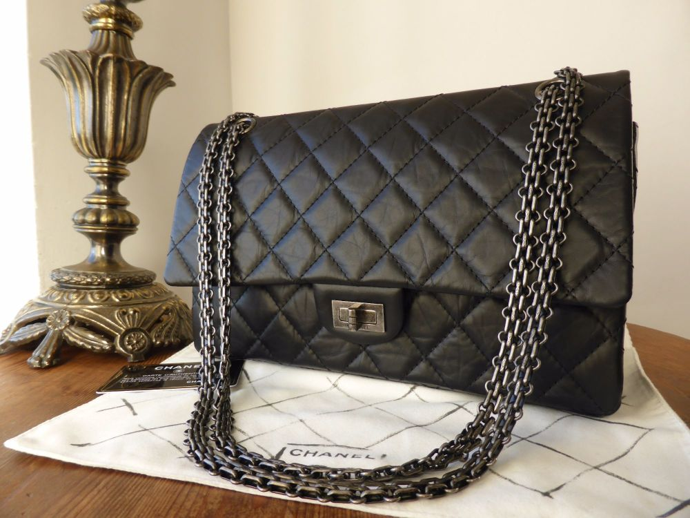 Chanel 226 Reissue Mademoiselle Flap in Black Distressed Calfskin with Ruth