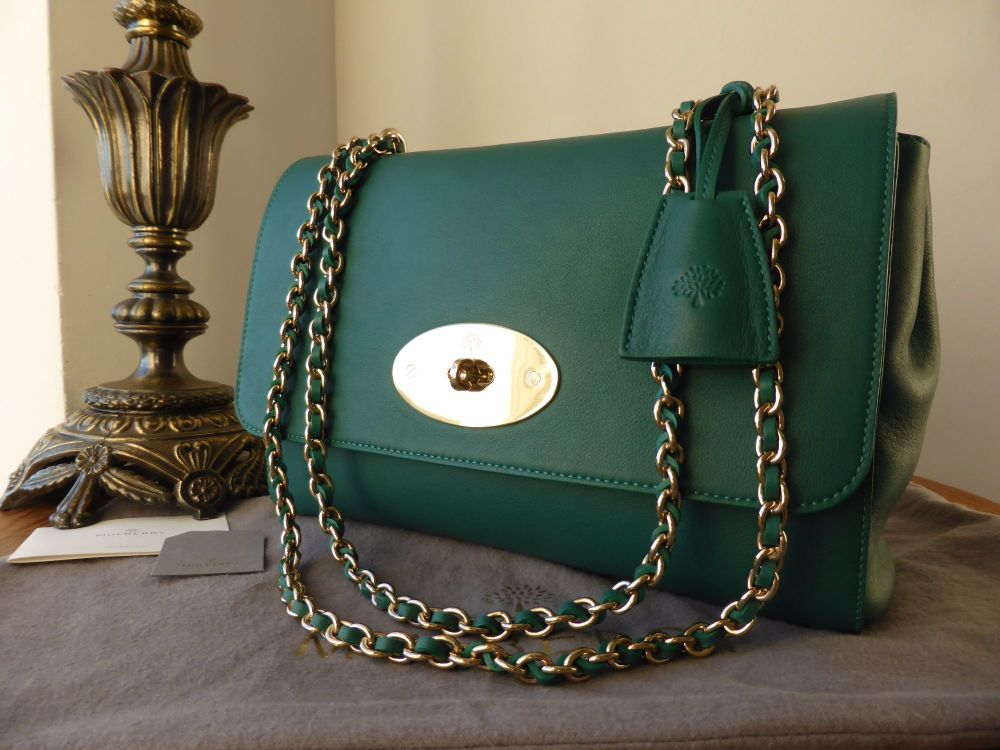 Mulberry Lily Medium in Emerald Micrograin Calf with Soft Gold Hardware - A