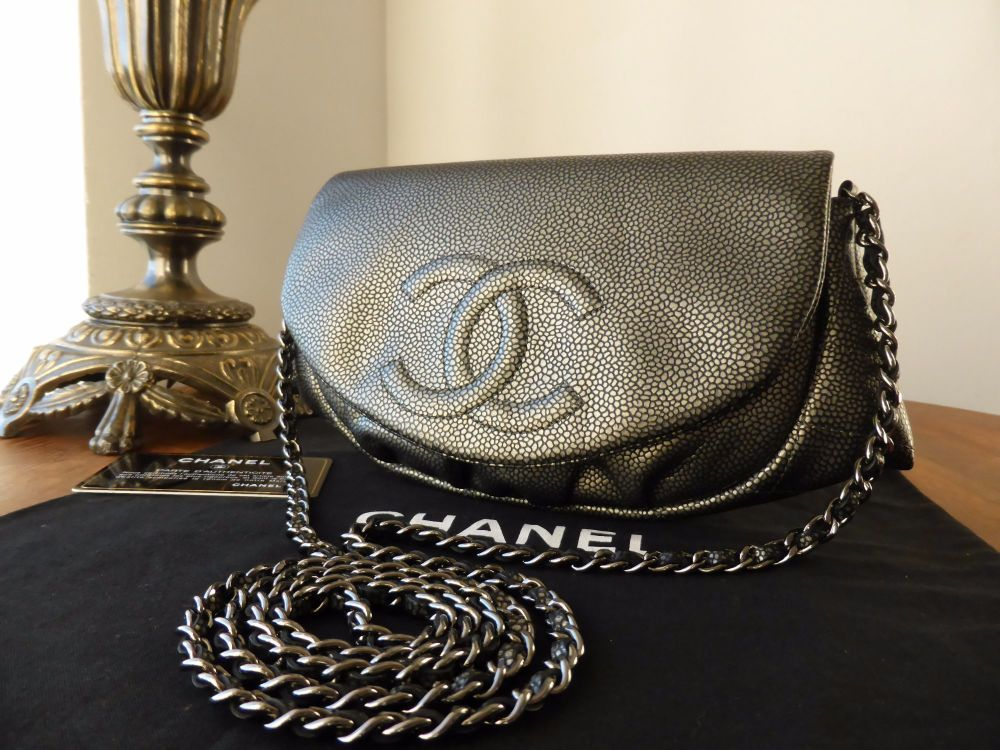 Chanel Half Moon Wallet on Chain in Metallic Pewter Caviar Leather