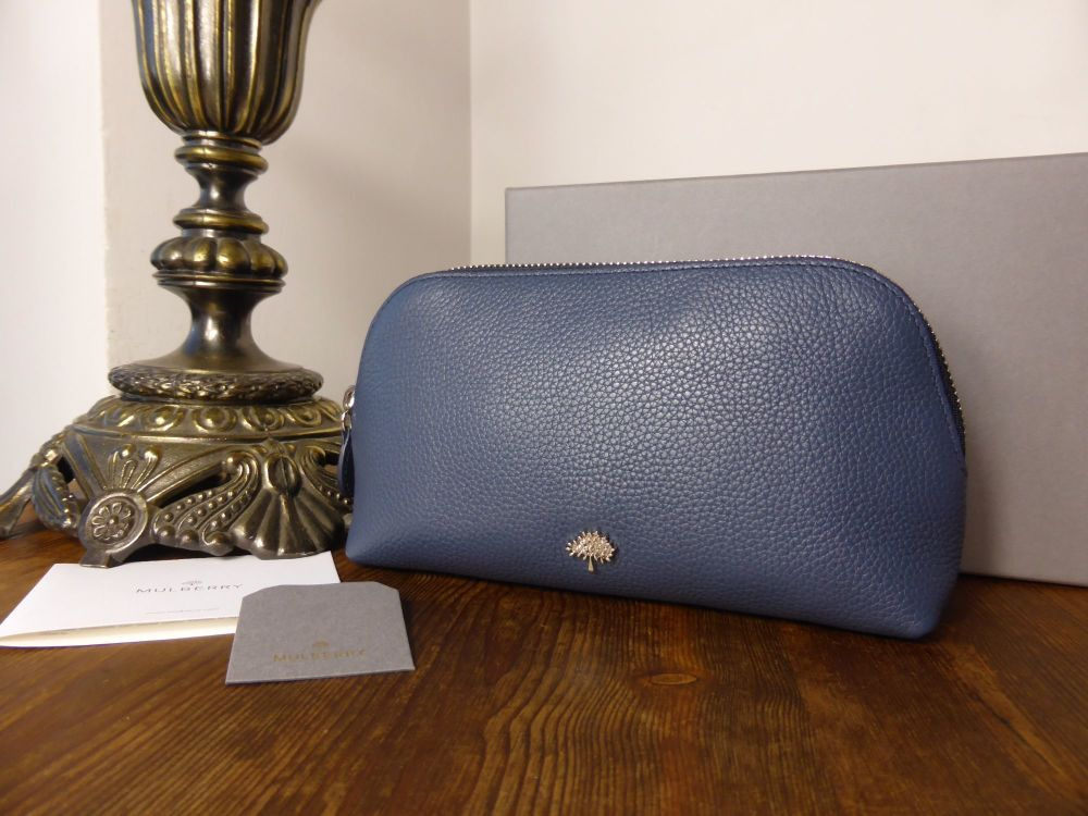 Mulberry Tree Make Up Bag in Regal Blue Classic Small Grain Leather - New