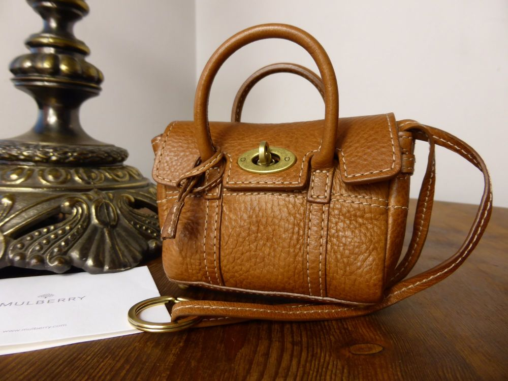 Mulberry Mini Bayswater Bag Charm / Key Pouch in Oak Natural Leather