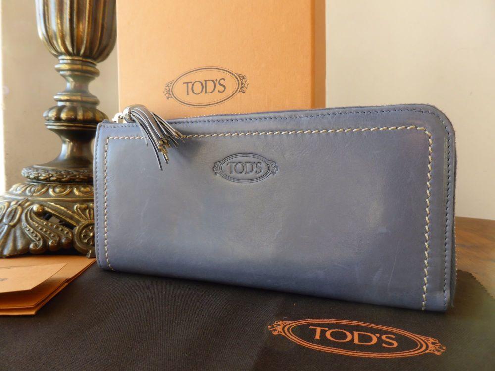 TOD'S Tassle Zip Continental Purse in Denim Blue Calfskin