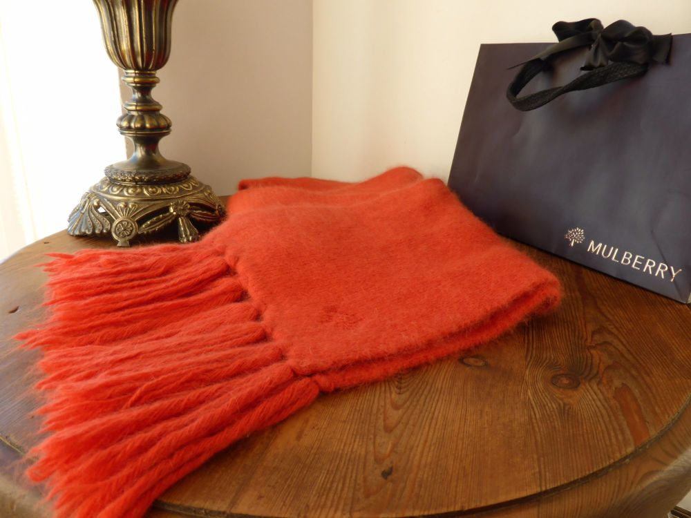 Mulberry Winter Scarf in Flame Angora Mix