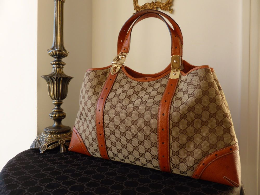 Gucci Large Shoulder Bag in GG Monogram with Seville Leather Trims