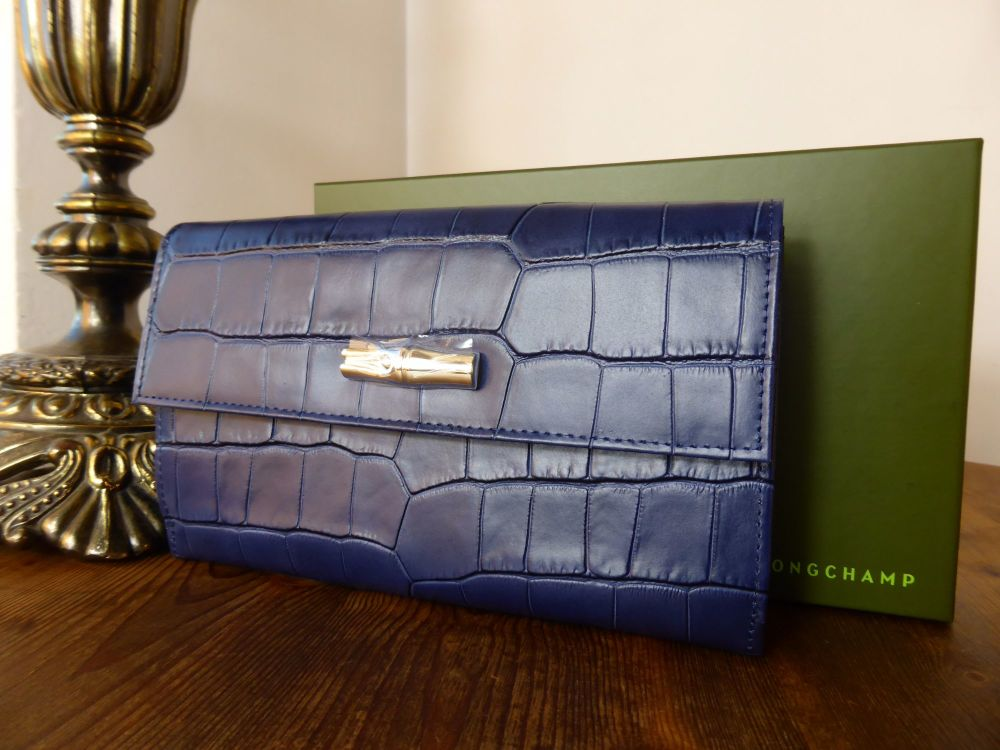 Longchamp Roseau Long Flap Large Continental Purse in Navy Printed Leather
