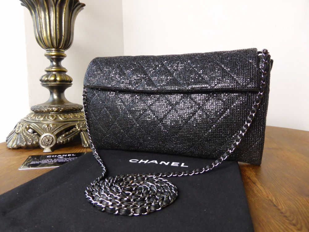 Chanel Limited Edition Iridescent Black Wallet on Chain