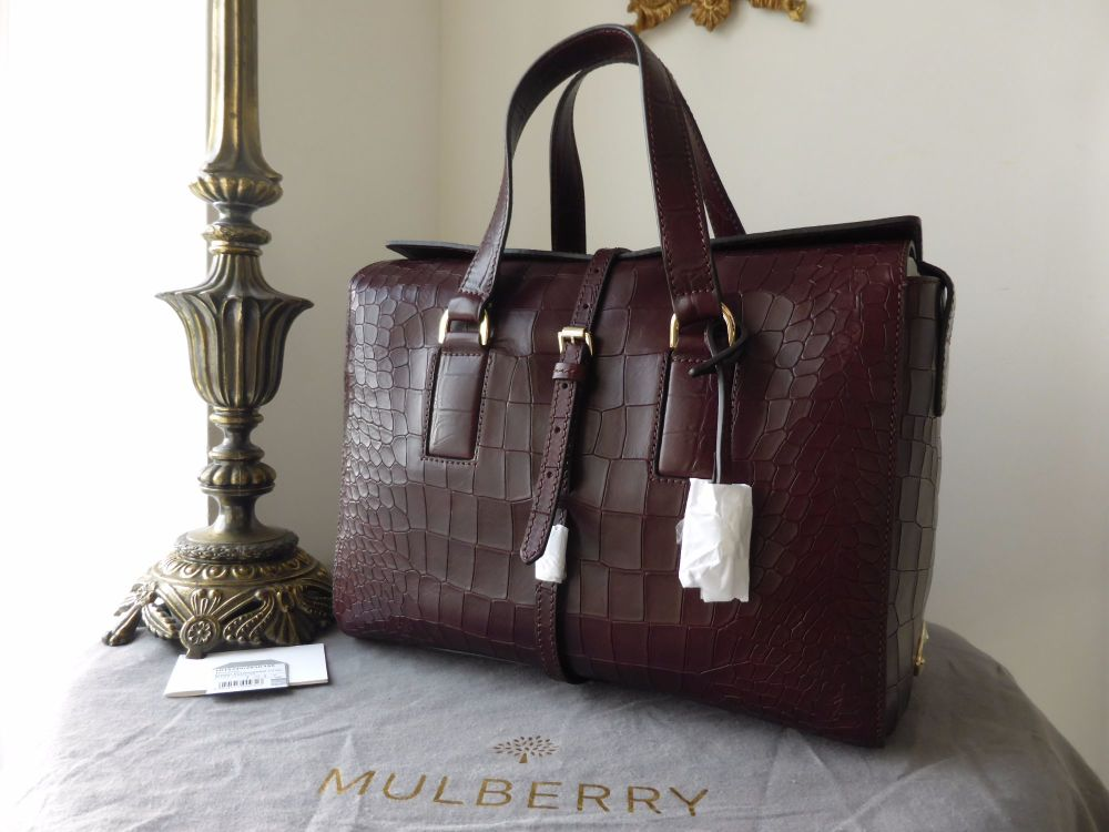 Mulberry Roxette (Larger Sized) in Oxblood Deep Embossed Croc Print - New