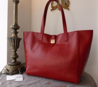Mulberry Tessie Tote in Poppy Red Soft Small Grain Leather