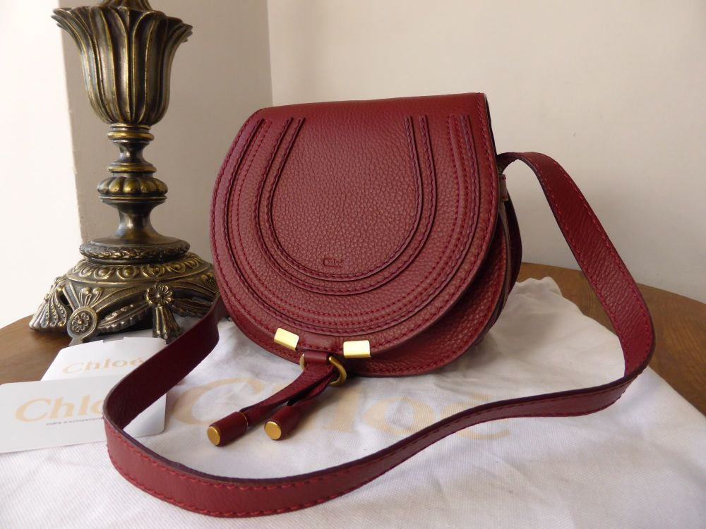 f72267f33c6 Chloe Marcie Mini Cross Body Satchel in Bordeaux Calfskin - SOLD
