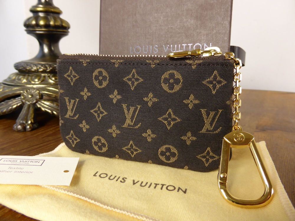 Louis Vuitton Porte-Cles Zip Pouch in Ebene Mini Lin - As New