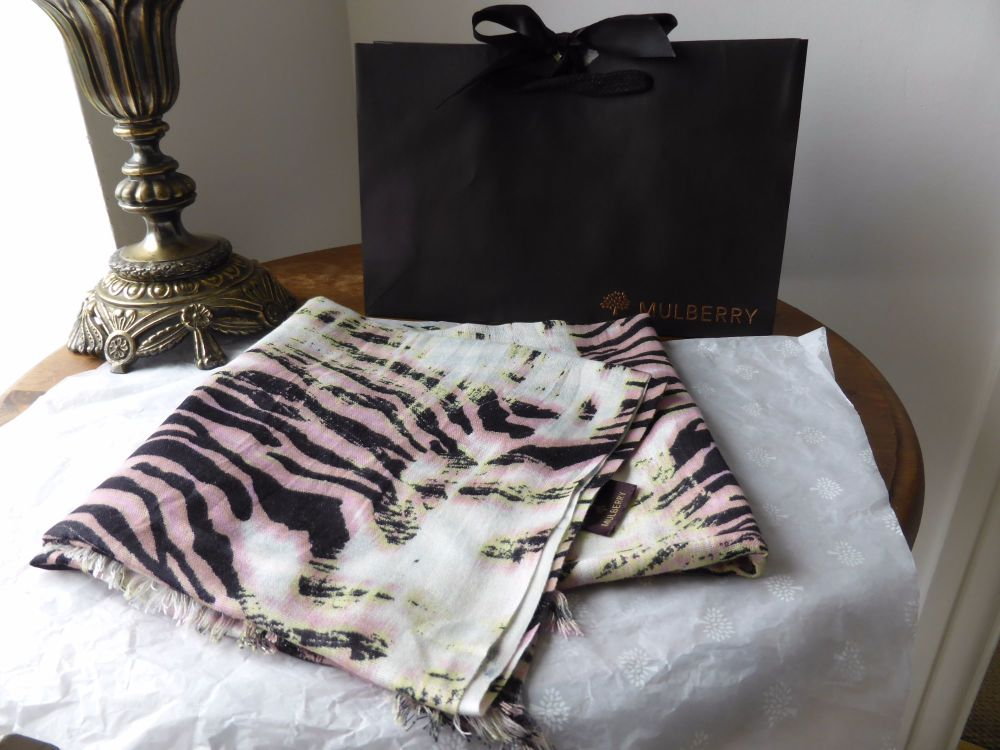 Mulberry Trippy Tiger Scarf in Pink Modal - As New*