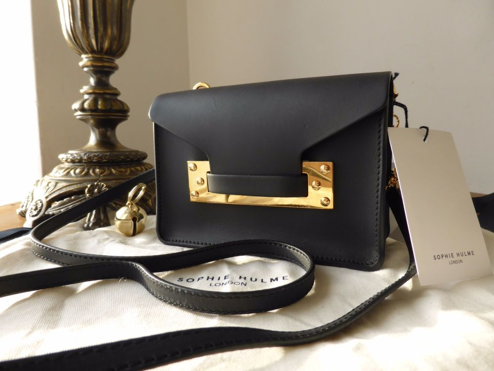 Sophie Hulme Nano Envelope Shoulder Clutch in Smooth Black Saddle Leather -