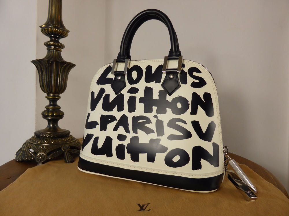 Louis Vuitton Limited Edition Black Glazed Leather Alma Graffiti MM
