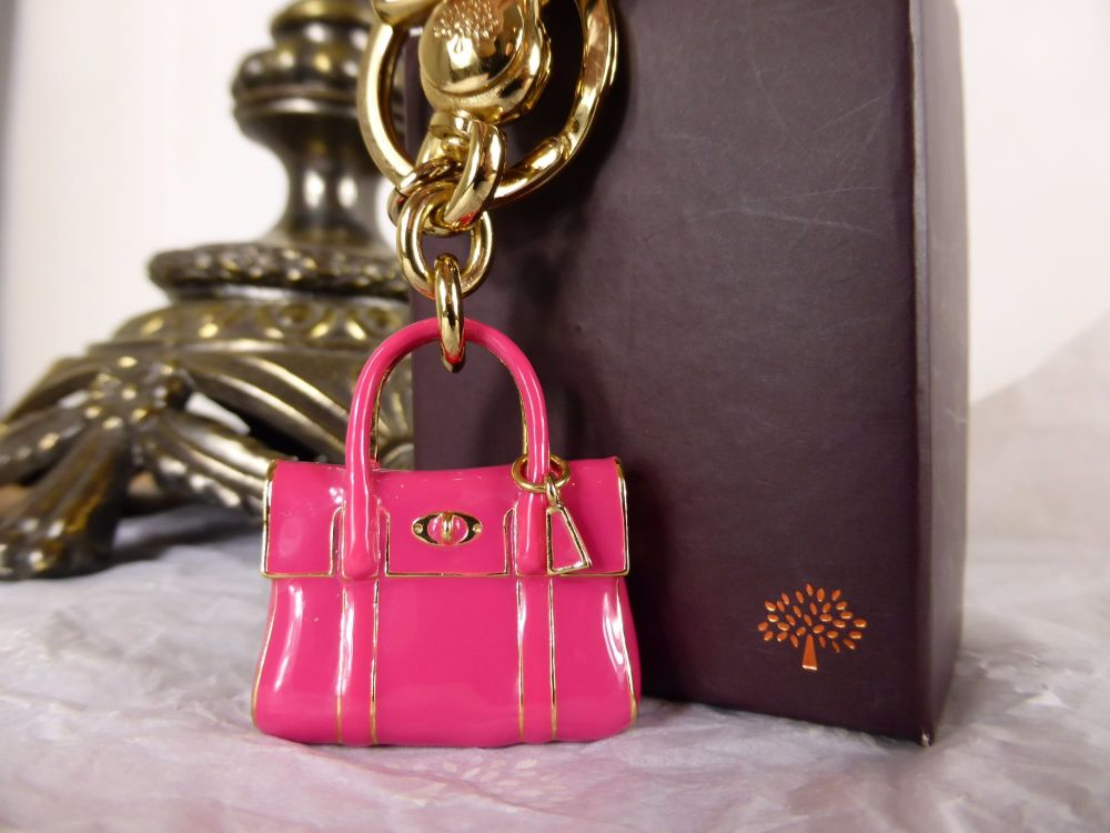 Mulberry Miniature Bayswater Keyring Charm in Hot Pink Enamel - As New