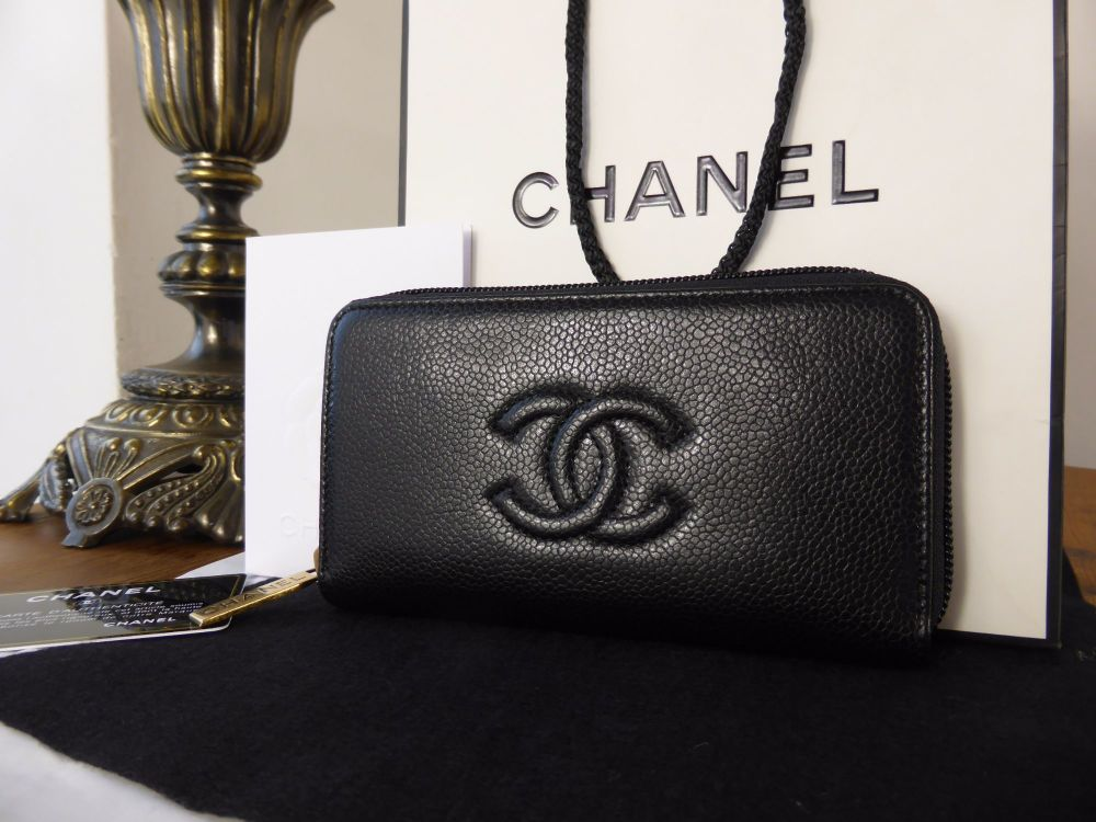 f399e4d24d0467 Chanel Medium Zip Around Wallet in Black Caviar with Antiqued Gold Hardware