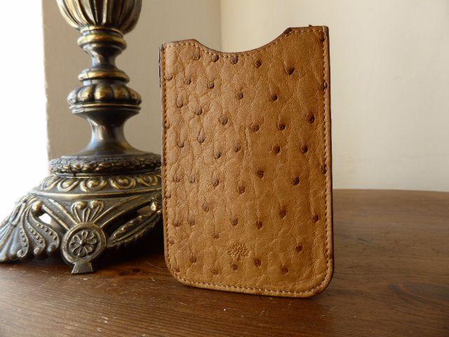 Mulberry Mobile Phone Slip Case in Oak Ostrich Leather