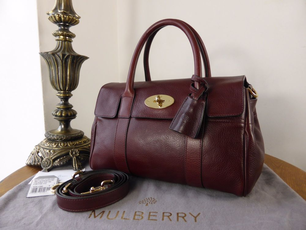 Mulberry Small Bayswater Satchel in Oxblood Natural Leather