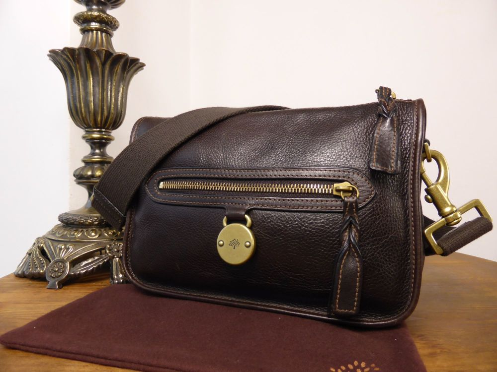Mulberry Somerset Small Shoulder Bag in Chocolate Natural Leather - As New
