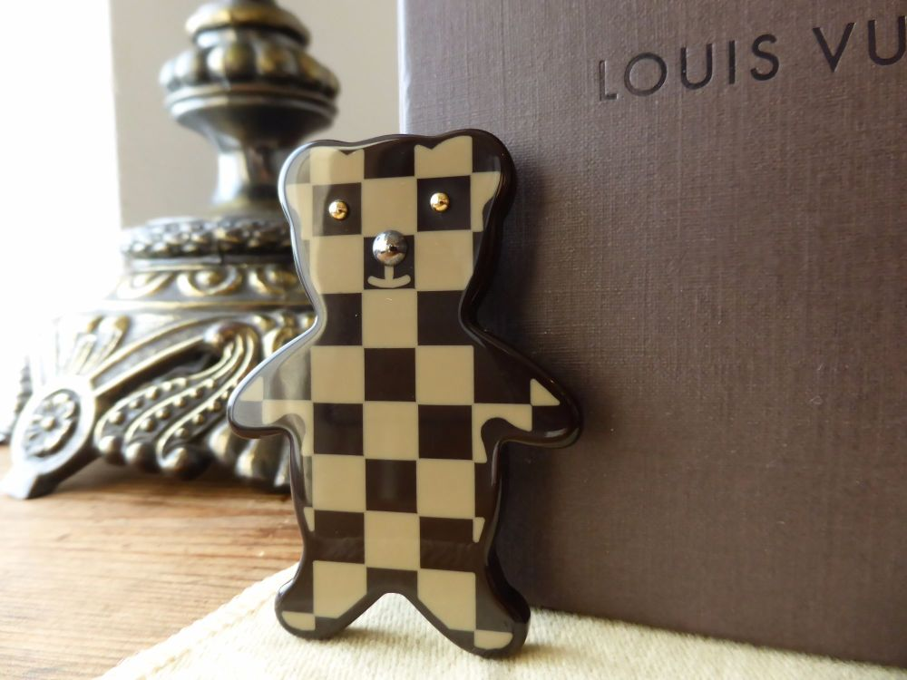 Louis Vuitton Teddy Bear Brooch Pin in Damier Ebene