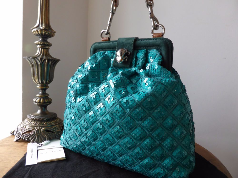 Marc Jacobs Frog Clasp Frame Bag in Teal Sequins & Suede