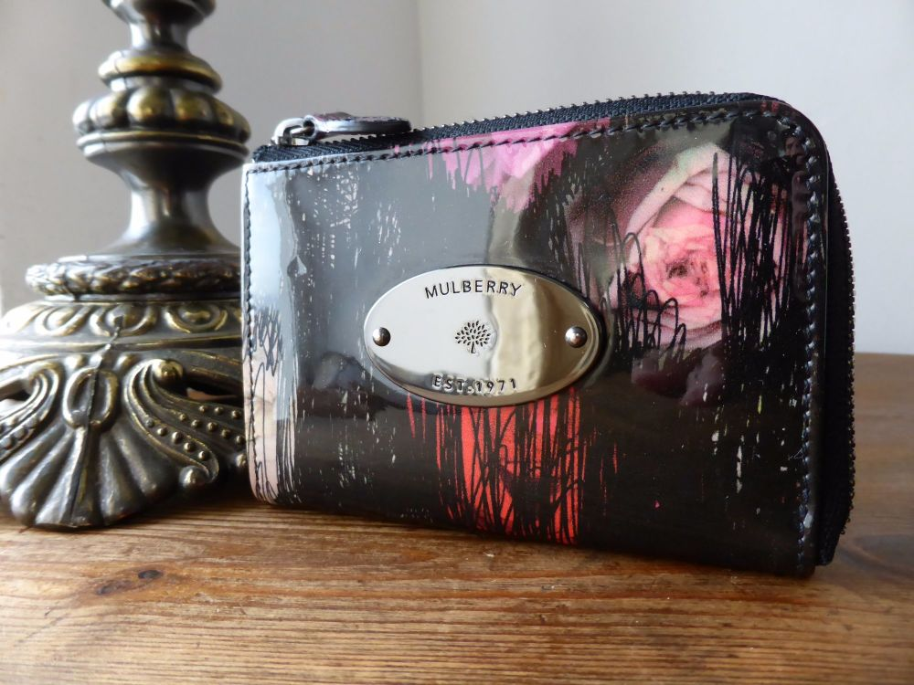 Mulberry Compact Zip Purse in Scribbly Floral Patent Leather