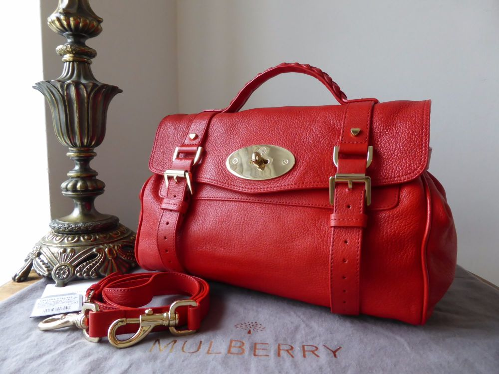 Mulberry Valentines Alexa in Valentine Red Glossy Goat