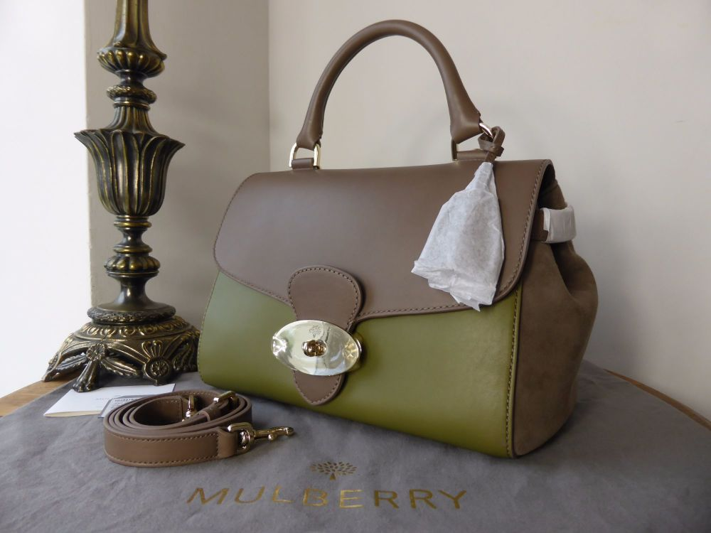 Mulberry Primrose in Pickle Green and Taupe Calfskin with Suede Trims - New