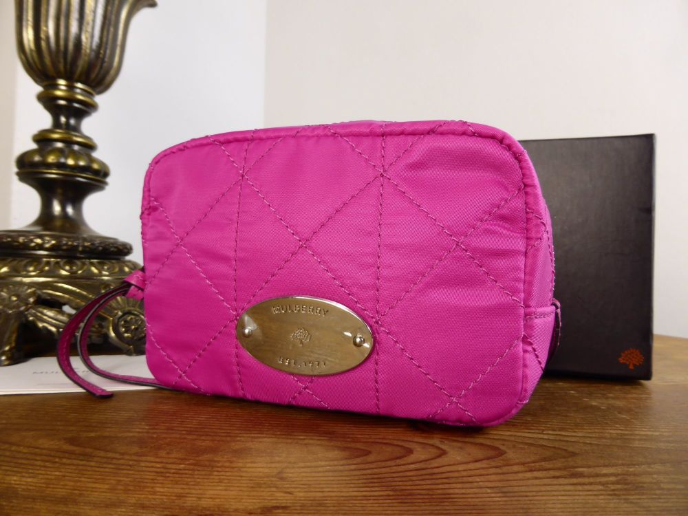 Mulberry Rosie Zip Cosmetic Bag in Hot Pink Quilted Nylon - New