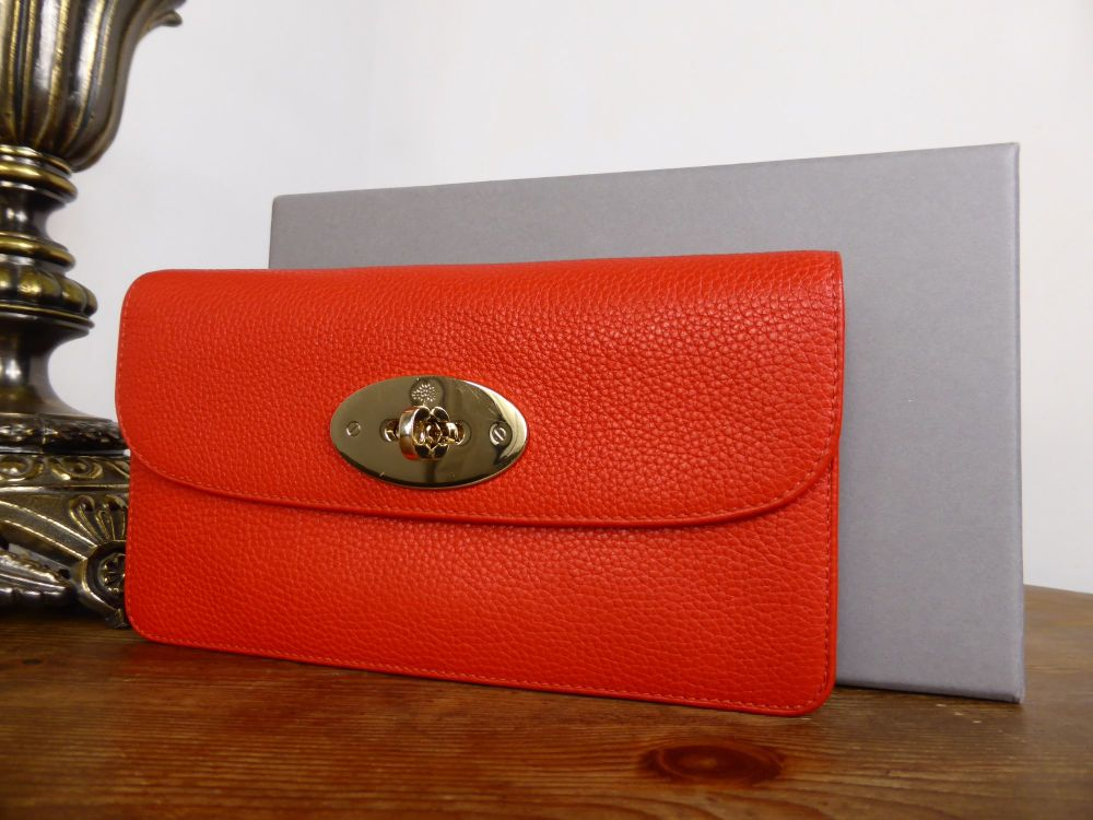 Mulberry Long Locked Purse in Fiery Spritz Small Classic Grain Leather