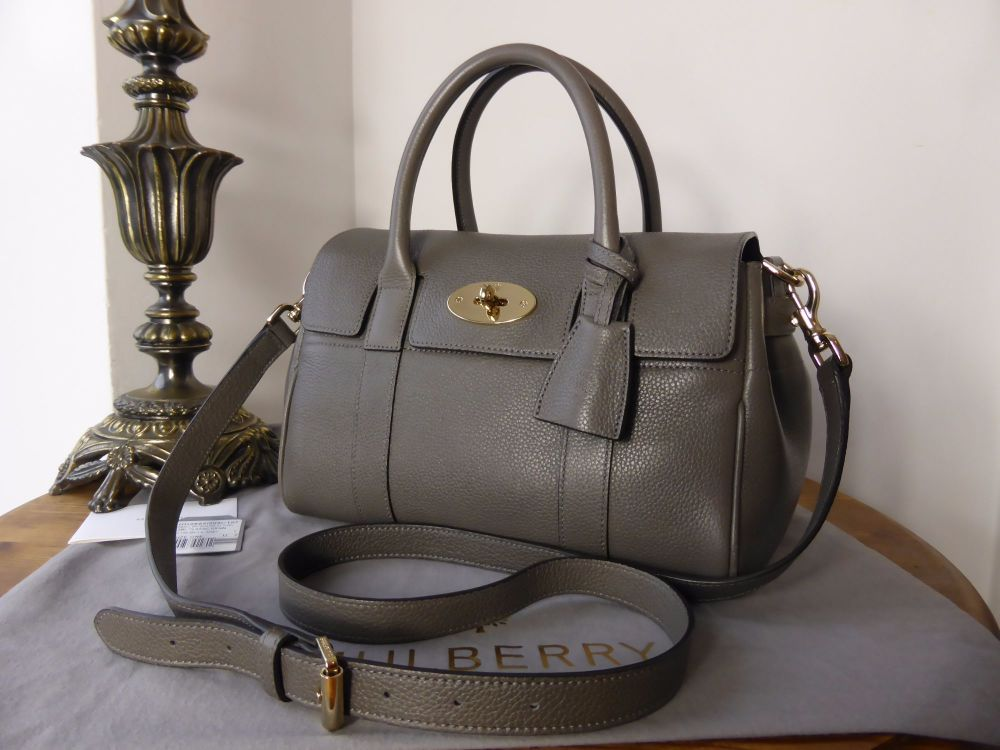 Mulberry Classic Small Bayswater Satchel in Mole Grey Small Classic Grain
