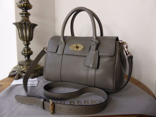 8ff85c5af2 Mulberry Classic Small Bayswater Satchel in Mole Grey Small Classic Grain