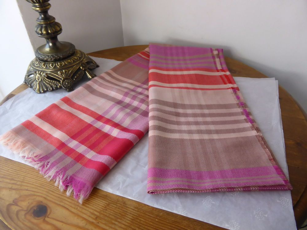 Mulberry Ancient Tartan Checked Wrap in Pink - New