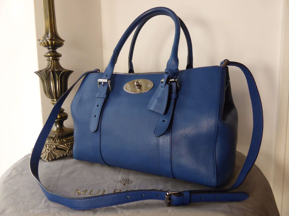 Mulberry Large Bayswater Double Zip Tote in Neon Blue Small Classic Grain L