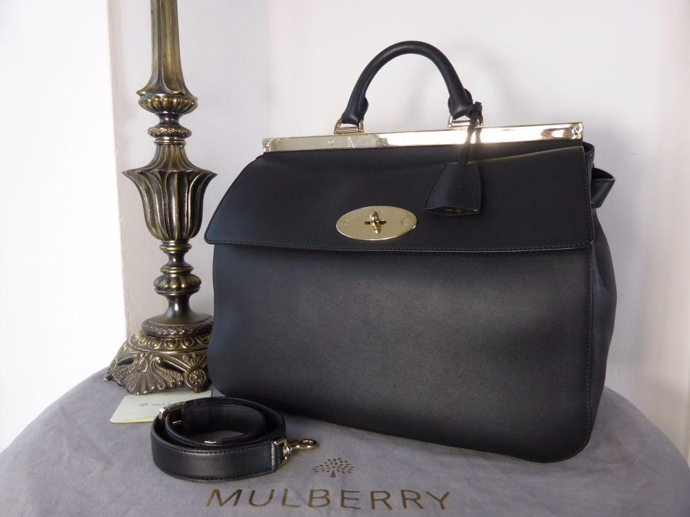Mulberry Large Suffolk in Black Silky Classic Calf - New