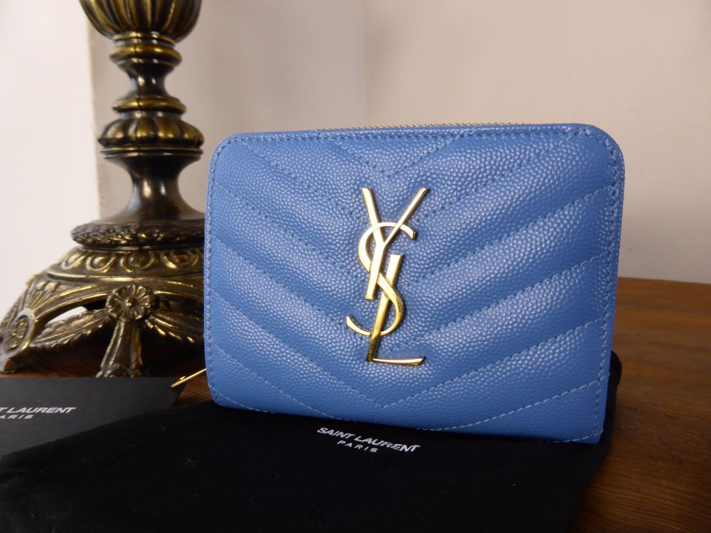 Saint Laurent Compact Zip Around Purse in Blue Grain De Poudre Textured Lea