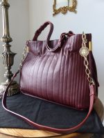 Lanvin Amalia Vertical Stitch Tote in Burgundy Grainy Calfskin - As New