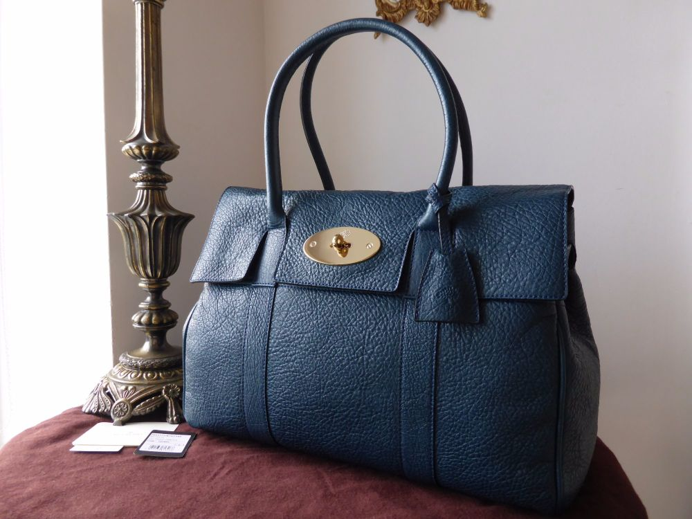 Mulberry Bayswater in Petrol Vegetable Tanned Lambskin